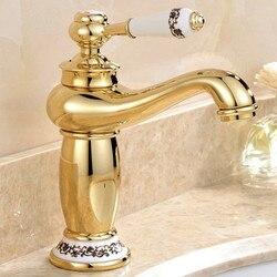Livraison gratuite robinet de lavabo de salle de bain doré à poignée unique de luxe avec robinet de salle de bain en laiton massif or pour offre spéciale robinet d'eau