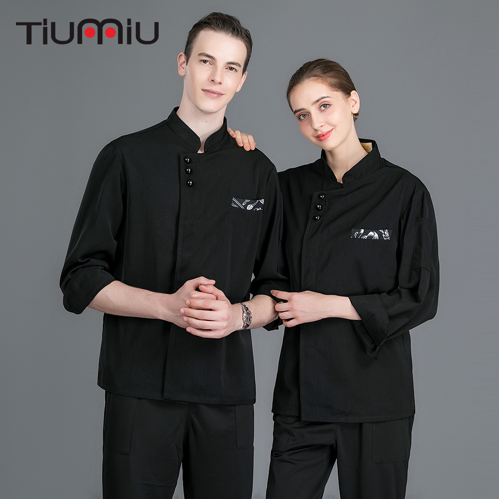 Black Long Sleeve Double Breasted Chef Jacket Bakery Cafe Catering Kitchen Cook Clothes Chef Uniforms Waiter Coat Work Jacket