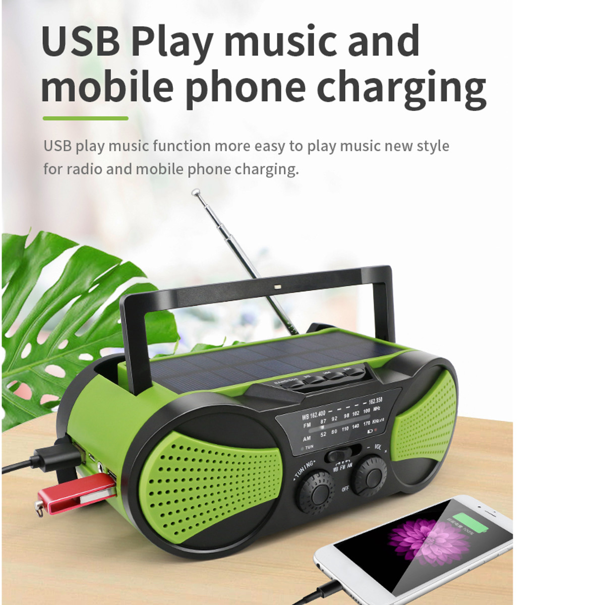 Solar Power Portable <font><b>Radio</b></font> 2000mAh Rechargeable WB Crank Emergency Power Bank Hand Crank Self Powered AM/FM Weather image