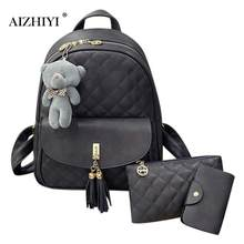 3pcs/Set Women Preppy Plaid PU Leather Backpacks with Bear Clutch Zipper Composite Card Shoulder School Bags Wristlets(China)