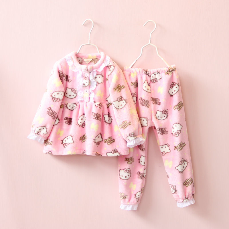 Autumn Baby Girls Suit with hooded Childrens printing cat thick Clothing 2Pcs Long Sleeve Tops+Pant Sets GIRL pajamas
