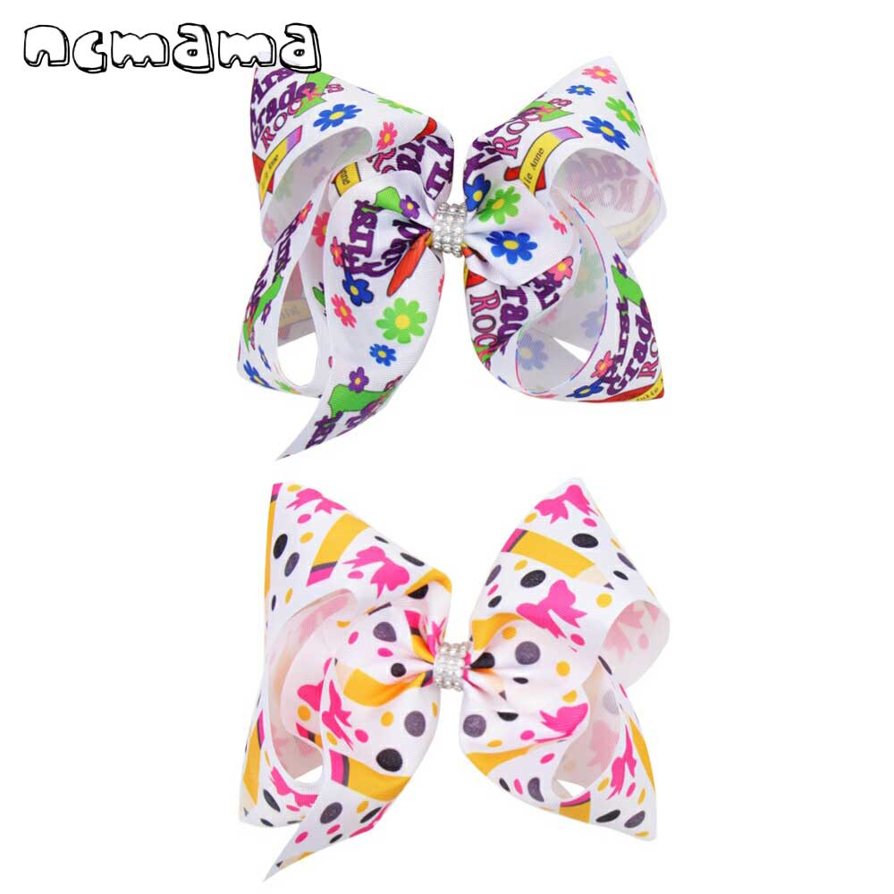 ncmama BACK TO SCHOOL 7 Pencil Print Hair Bows for Girls with Clips Grosgrain Ribbon Rhinestones Knot Hairpins Kids Headwear