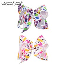 ncmama BACK TO SCHOOL 7 Pencil Print Hair Bows for Girls with Clips Grosgrain Ribbon Rhinestones Knot Hairpins Kids Headwear geometric print knot back top with pants