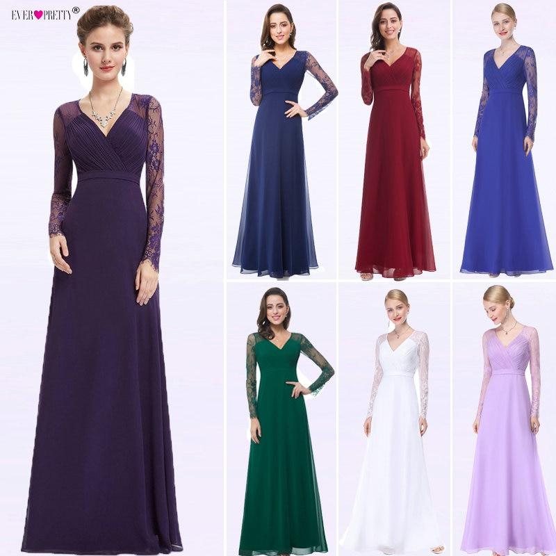 Women Elegant Evening Dresses 2019 Ever Pretty EP08692 A-Line V-neck Lace Long Sleeves Robe De Soiree Formal Party Dresses 2019