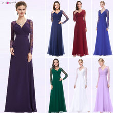 Women Elegant Evening Dresses 2019 Ever Pretty EP08692 A-Line V-neck Lace Long Sleeves Robe De Soiree Formal Party
