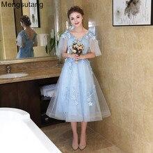 Robe de soiree,, светло-голубое, длиной до середины икры, тонкое, ТРАПЕЦИЕВИДНОЕ вечернее платье, вечернее платье, vestido de festa, платья для выпускного вечера, 3 цвета