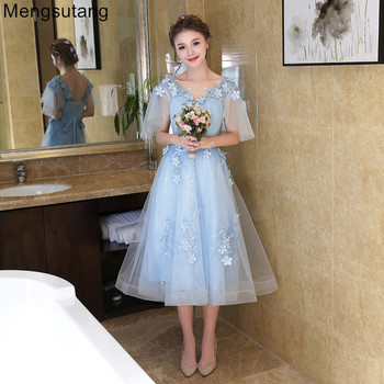 Robe de soiree 2019 light blue Tea-Length thin A Line evening Dress toast party dress vestido de festa prom dresses 3 colors