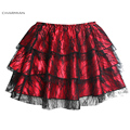 Charmian Women's Summer Sexy Steampunk Black Floral Lace Tutu Skirt Layered Dancing Petticoat Mini Skirt