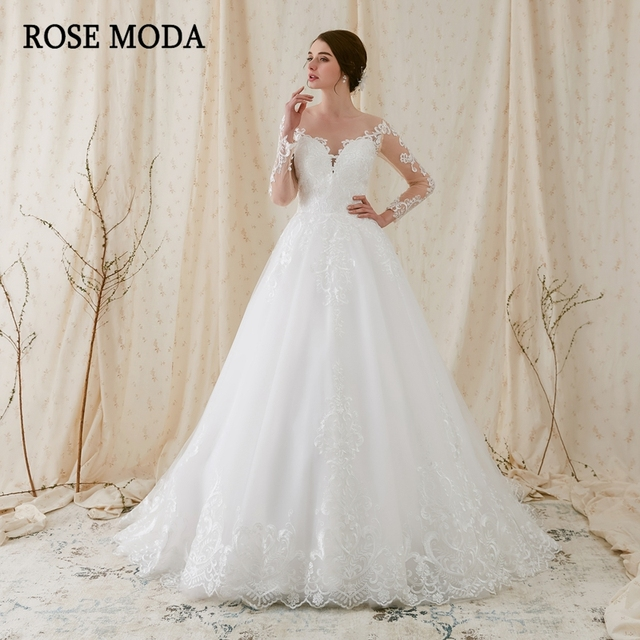 Rose Moda Romantic Long Sleeves Wedding Dress Lace Wedding Ball Gown ...