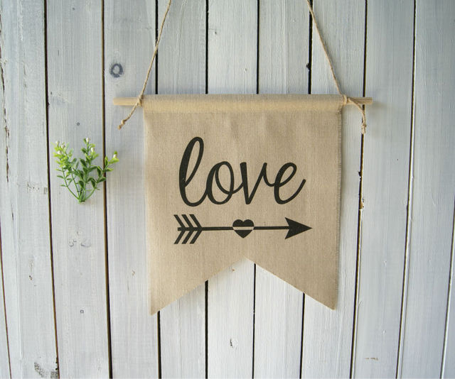 Wall Decor Valentines Day Wall Decor Love Wall Hanging Linen Flag