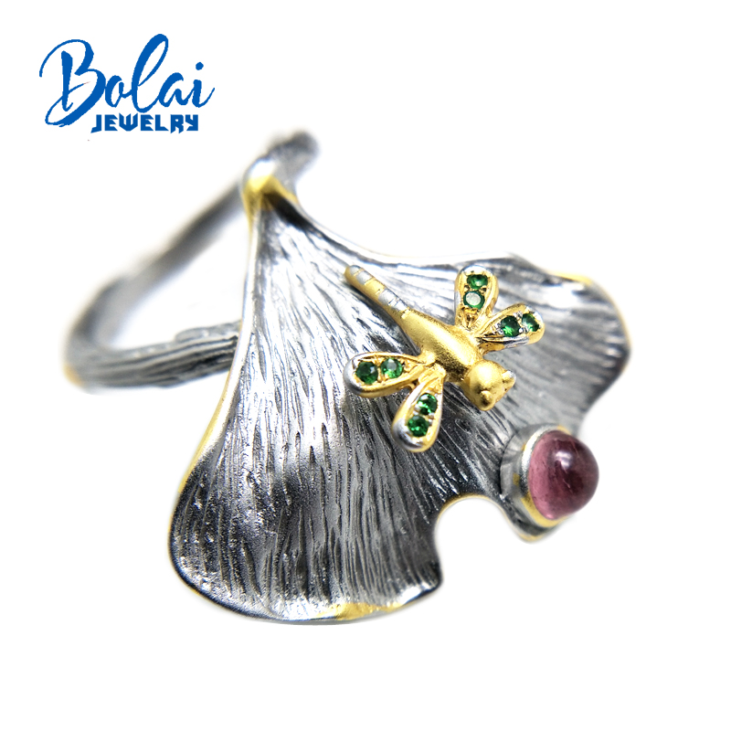 Bolaijewelry,dragonfly shape Ring pink tourmaline and tsavorite Natural gemstone Ring 925 sterling silver fine jewelry for womenBolaijewelry,dragonfly shape Ring pink tourmaline and tsavorite Natural gemstone Ring 925 sterling silver fine jewelry for women