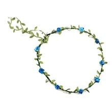2017 NEW Lady Boho Floral Flower Festival Wedding Garland Forehead Hair Head Band blue