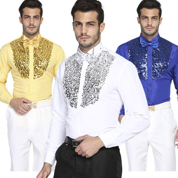 New Young Men's Fashion Long-Sleeved Shirts With Sequins Flash Theatrical Dance Dress Shirt Collar Wedding Dress Shirt Tuxedo Shirts