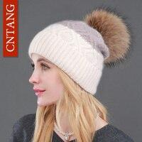 2016 Winter Hat Natural Raccoon Fur Pompon Beanies Women Warm Knitted Rabbit Fur Patchwork Cute Hats