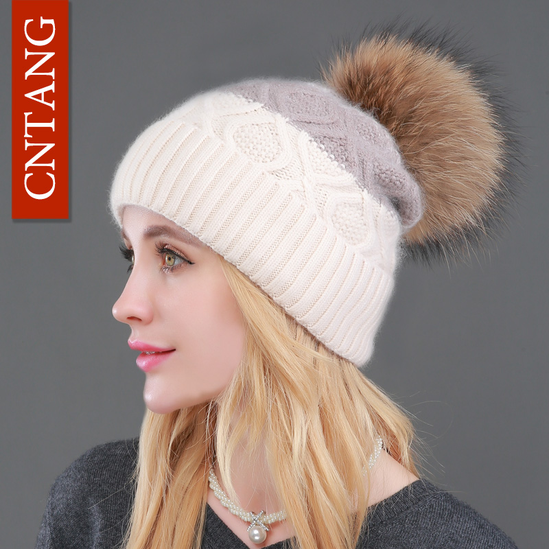 2017 Winter Hat Natural Raccoon Fur Pompon Beanies Women Warm Knitted Rabbit Fur Patchwork Cute Hats Female Fashion Wool Caps