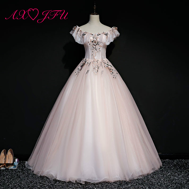 AXJFU princess pink lace flower   evening     dress   stage illusion boat neck beading embroidery flower ruffles pink   evening     dress