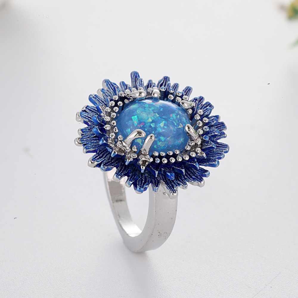 מסתורי כחול אופל טבעת סגלגל אבן טבעת כסף בהיר צבע טבעות נשים בציר יום נישואים תכשיטי Anillos Mujer F5T006