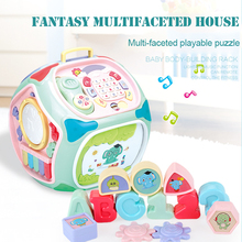 Seven-sided Wisdom House Hexahedron Infant Multi-function Game Table Assembling Toys Early Education Learning 1-3 Years Old