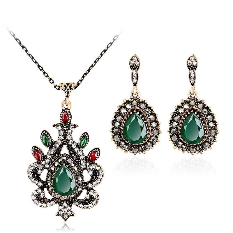 Women Crystal Pendant Necklace Earrings Vintage Wedding Bridal Jewelry Set CX17