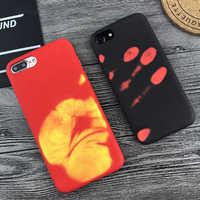 Indução de Calor Caso de telefone Para O iphone X XR XS térmica Max 5 5S SE 6 6S 7 8 Plus caso Moda Capa protetora de Silicone Voltar Coque