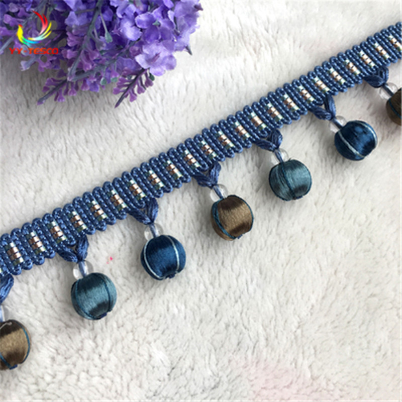 10Yards Lace Tassel Fringe Cotton Ethnic 4.5cm Lace Trim Ribbon Sewing Latin Dress Stage Garment Curtain Decorative DIY  SM380-in Tassel Fringe from Home & Garden    2