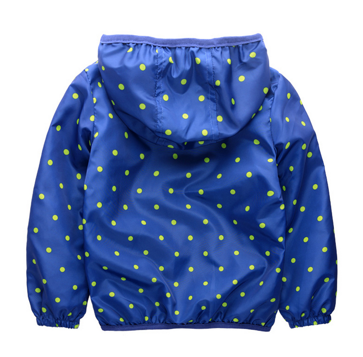 The new childrens rain coat dust coat zipper hooded dot double fashion jacket on sale free shipping