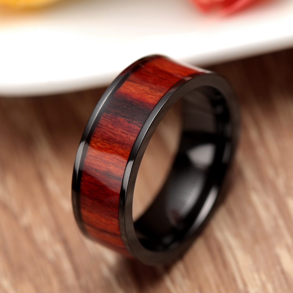 ring wedding polished made edges or all black products with fiber men beveled mens of bands tungsten titanium inlay carbon band rings out