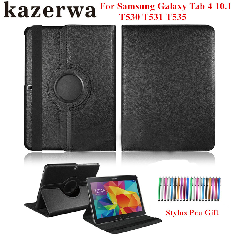 Tab 4 10.1 T530 T531 T535 Tablet Case 360 Rotating PU Leather Cover for Samsung Galaxy Tab 4 10.1 Flip Funda Capa Case+Pen Gift 360 rotary flip open pu case w stand for 10 5 samsung galaxy tab s t805 white