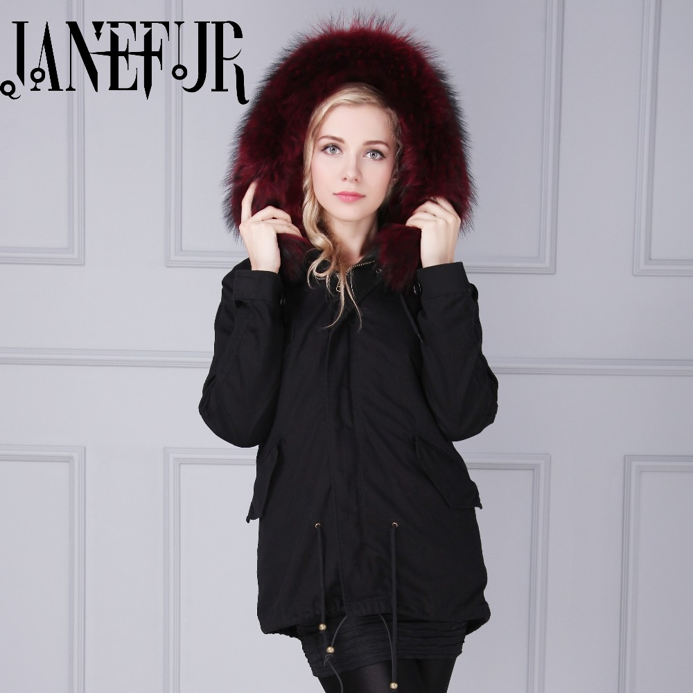 Black Shell Parka Real Fur Collar Winter Coats Ladies Long Sleeve ...