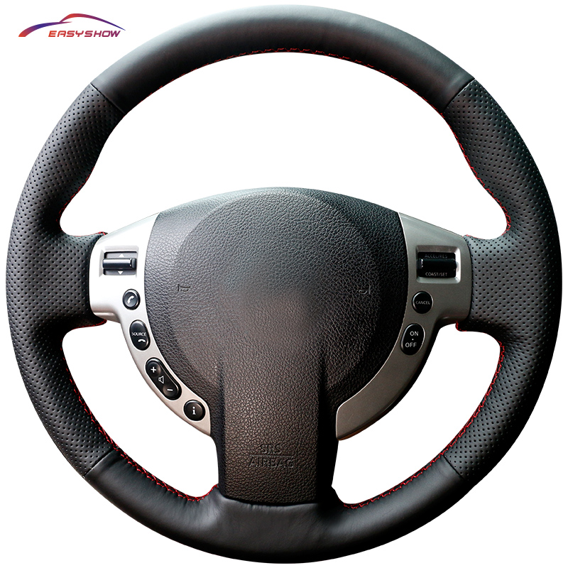 Car Steering Cover DIY Steering Wheel Covers Soft Leather Braid Design With Needle and Thread font