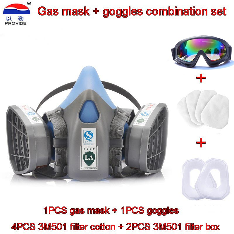 Gas Mask + Goggles Combination Set High Quality Gas Mask + Goggles + Filter Cotton + Filter Box Respirator Mask