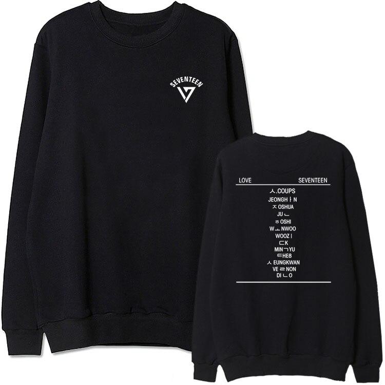 Kpop New Idol Seventeen Love Seventeen All Member Name Printing O Neck Sweatshirt  Fans Supportive Pullover Hoodies
