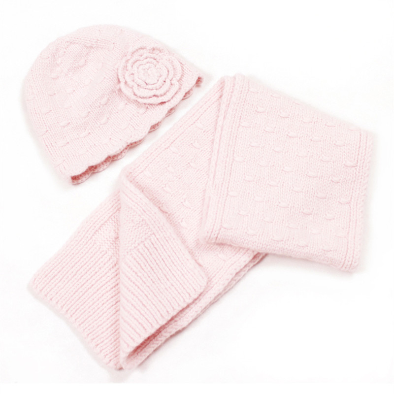 100% hand made goat cashmere knit children cap scarf set kids winter floral twisted 2pcs 18x150cm retail wholesale customize
