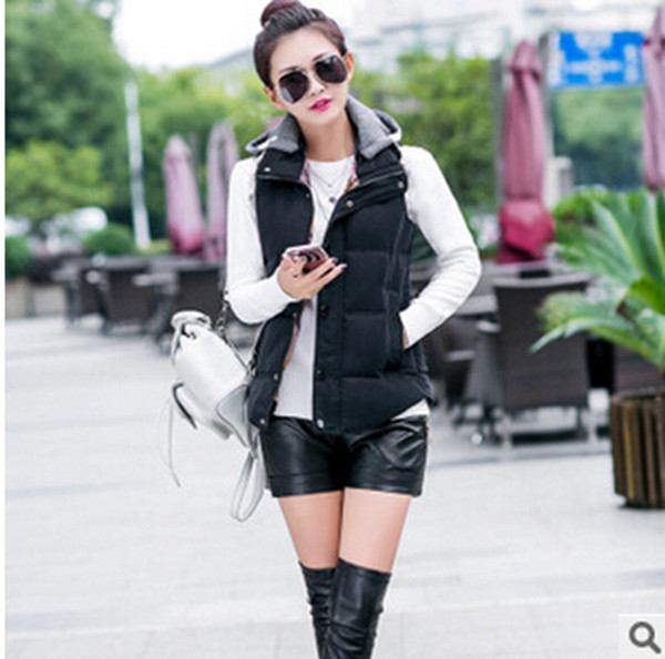 Warm Coat Female Winter Vest Women 2017 Thick Cotton Vests Hooded Plus Size Waistcoats Brand Jackets For Women M-4XL Q238