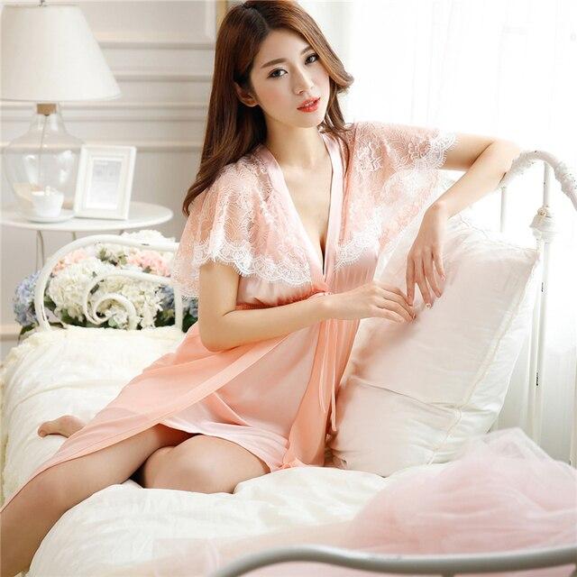 93766fb935 Lace Shawl Sexy Sleeping Dress Lady Silk Long Night Woman Summer Autumn  Thin Style Depth V