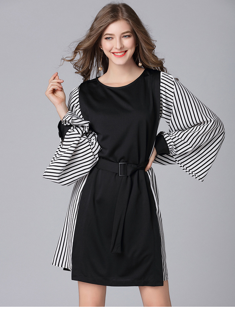 c59c940d98 2019 women spring casual dresses plus size strip patchwork designer sleeves  women fashion loose dress with belt