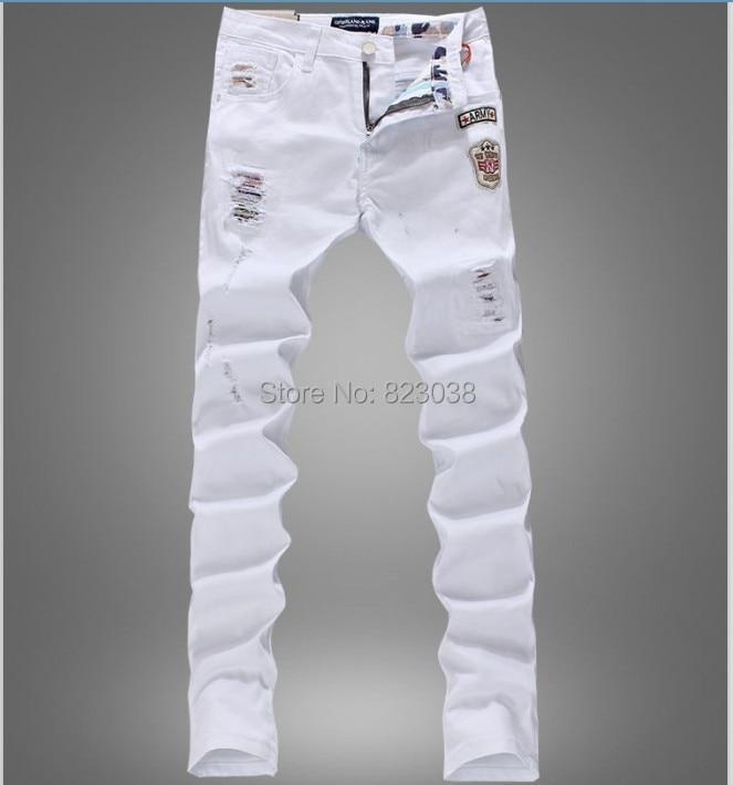 4a82c1cb96bdd0 New fashion Mens Designer Brand slim fit white Jeans Men Straight casual Denim  Jean Men's Ripped Pants