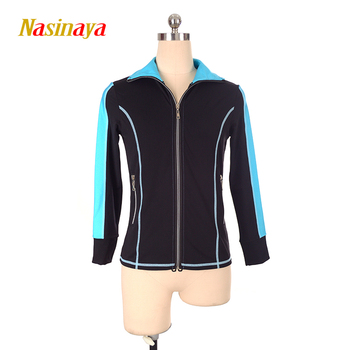Customized Figure Skating Jacket Zippered Tops for Girl Women Training Competition Patinaje Ice Skating Warm Fleece Gymnastic 37
