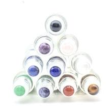 5 pièces belle boule de rouleau de pierres précieuses naturelles Fit 5ml 10ml rouleau dhuile essentielle de parfum en verre épais sur des bouteilles
