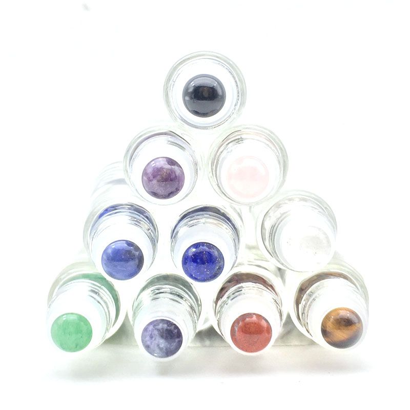 5pcs Beautiful Natural Gemstone Roller Ball Fit 5ml 10ml Thick Glass Perfume Essential Oil Roll On Bottles