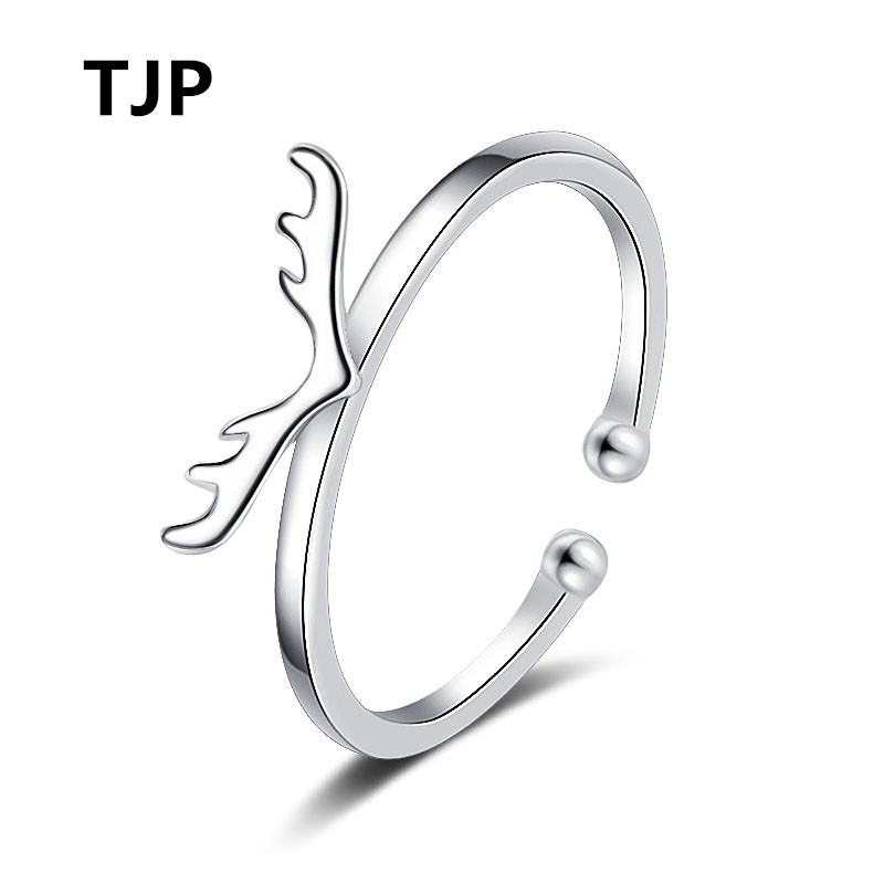 TJP Cute Antlers Silver Open Rings For Women Engagement Party Top Quality 925 Silver Girl Finger Rings Jewelry For Lady Wedding