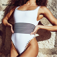 Rivet Cut Out 1 Piece Sexy Swimsuit Women One Piece Swim Suit Backless Swimwear High Waisted