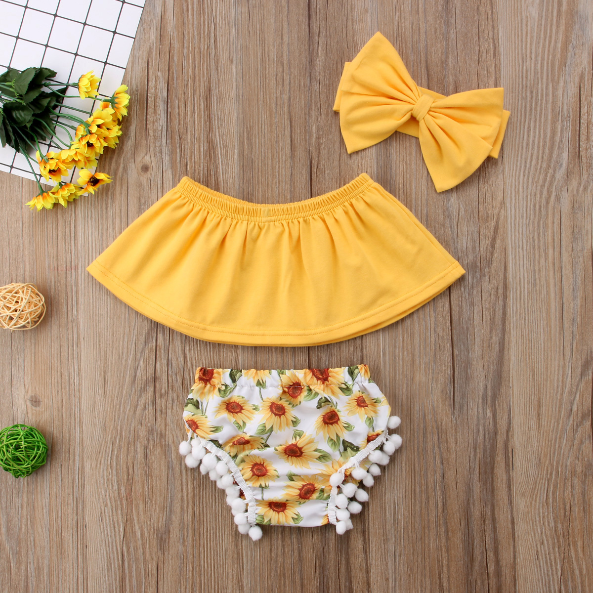 3pcs Set Newborn Kid Baby Girl Clothes Yellow Off Shouler Tops Headband Floral Tassels Bottoms Outfit Girls Summer Clothing ...