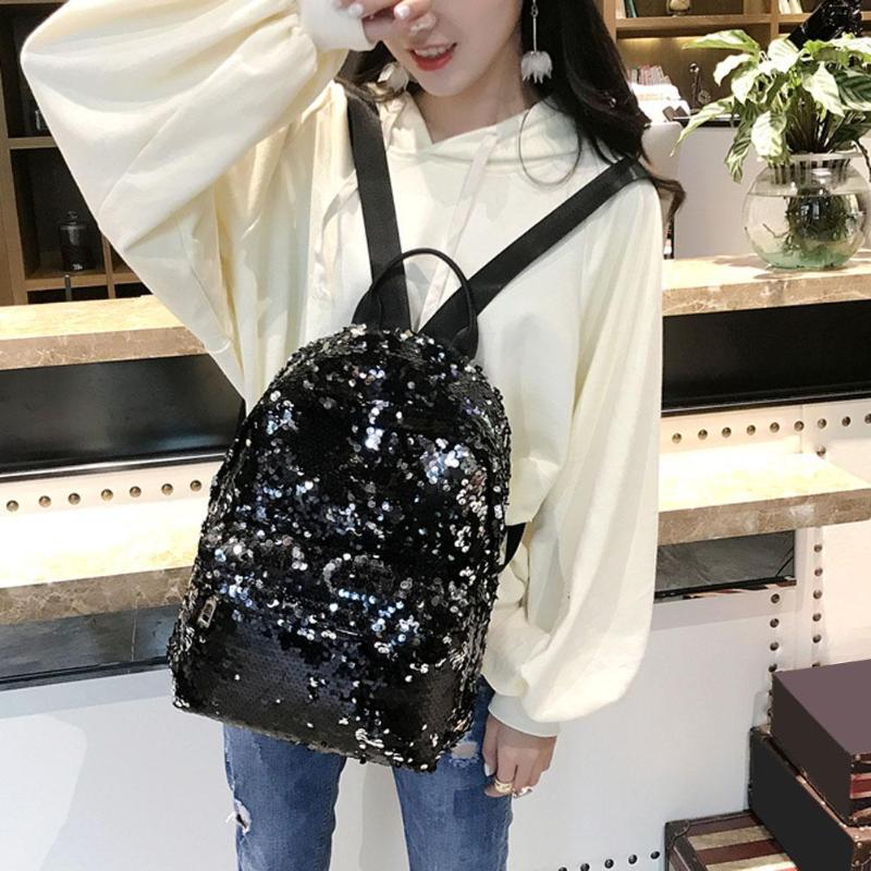 Sequins Glitter Bling Backpacks Teenager Girls PU Leather Backpack Girls Shoulder School Bag Travel Rucksack 3