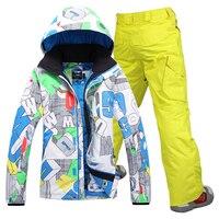 Бесплатная доставка Gsou снег люди Лыжная куртка мужская лыжный костюм + Штаны сноуборд куртка мужская зимняя мужская куртка спортивные кост