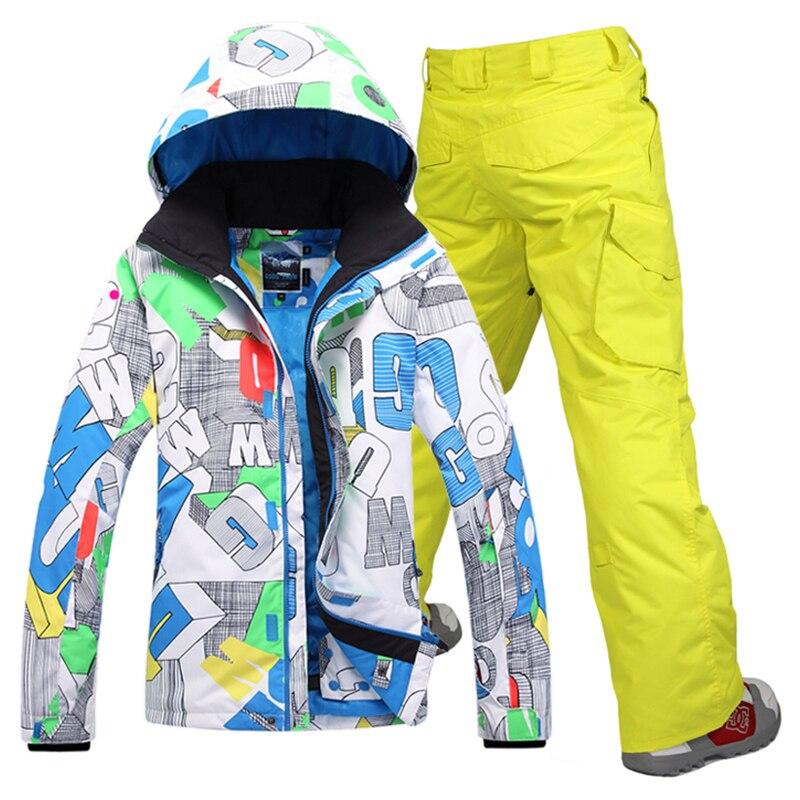 Livraison gratuite Gsou neige hommes ski veste hommes ski costume + pantalon snowboard veste hommes d'hiver mâle veste de sport costumes de ski ensemble