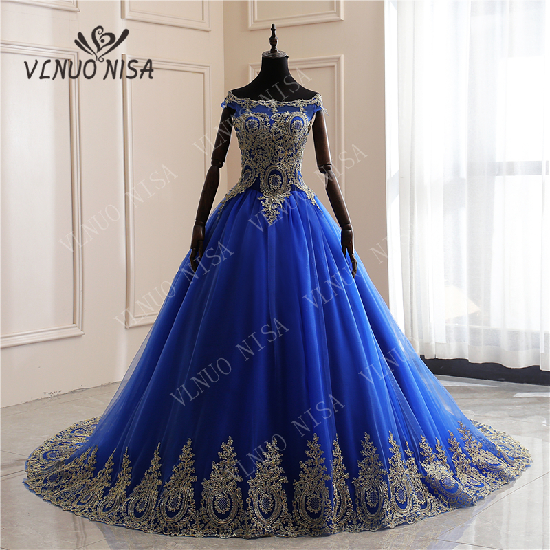 New Arrivals Spring Summer Romantic Luxury Vintage Lace Appliques Blue Wedding Dress Off White Long  80 Cm Train