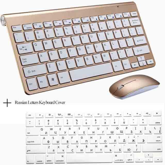 Портативный Mute ключи Клавиатуры 2.4 г Сверхтонкий Беспроводной клавиатура и Мыши набор для MAC Win XP 7 10 Vista Android ТВ коробка - Цвет: GoldenKeyboard Cover