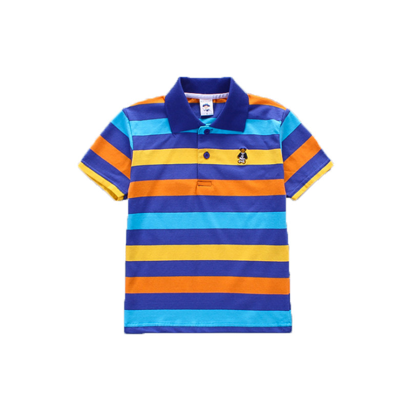 2018 Summer Clothes Boys Polo Shirts Short Sleeves Bear Embroidery Cotton Shirts for Full Size 2 14 Boys Polo Shirt
