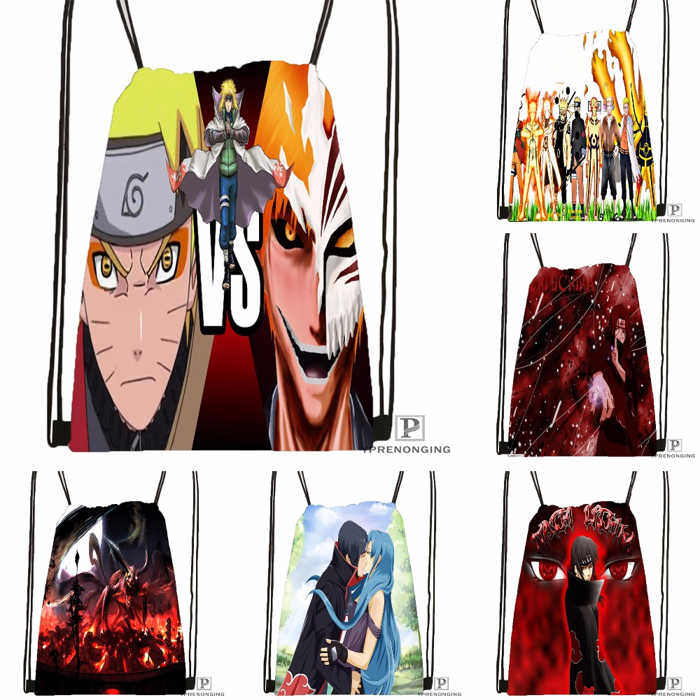 Custom Naruto Shippuden Drawstring Backpack Bag Cute Daypack Kids Satchel (Black Back) 31x40cm#180531-04-39